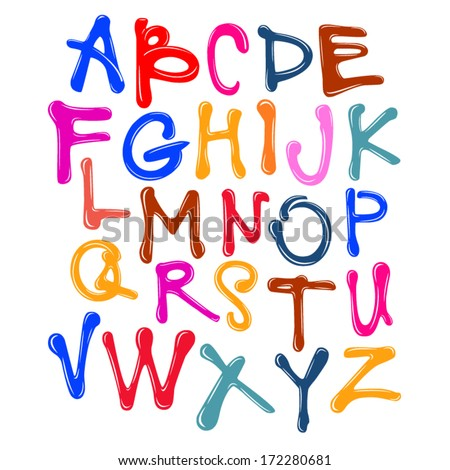 Vector Acrylic Brush Style Hand Drawn Vibrant Colorful Calligraphy Alphabet Typeface Font - stock vector