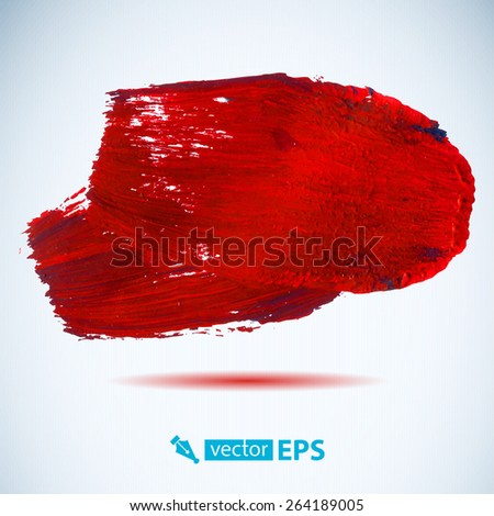 Vector acrylic red ink spot.  Wet brush stroke on paper texture. Dry brush strokes. Abstract composition for design elements - stock vector