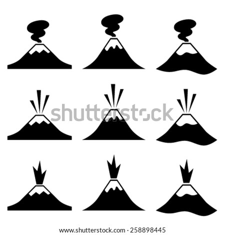 vector active erupting volcano pictograms - stock vector