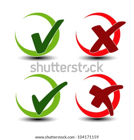 Vector add remove circular item - check mark symbol - stock vector