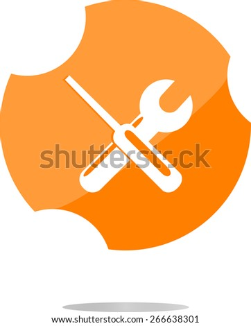 vector adjustable wrench and screwdriver icon web button isolated on white - stock vector