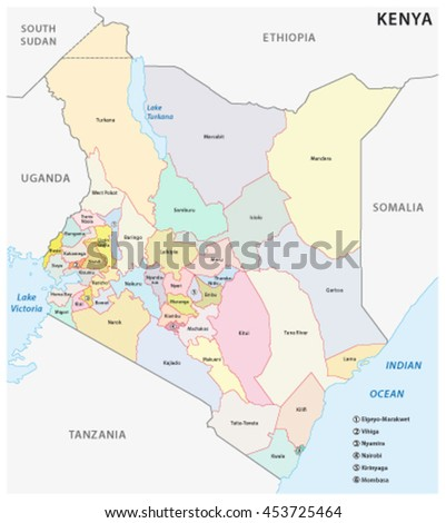 Vector Administrative Political Map Republic Kenya Stock Vector