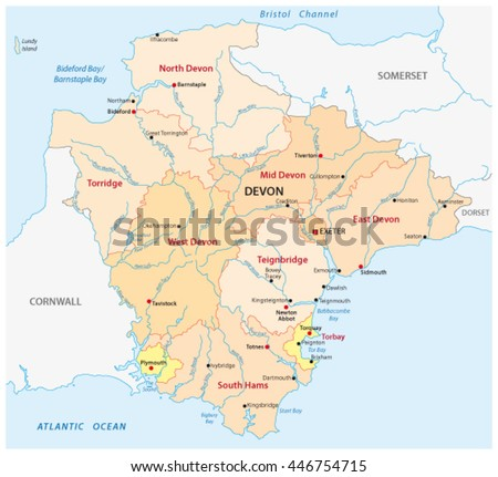 vector administrative map of the county devon, england