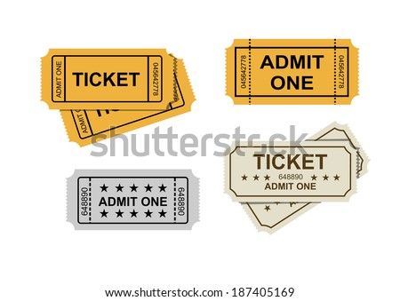 vector admit one tickets icons on white - stock vector