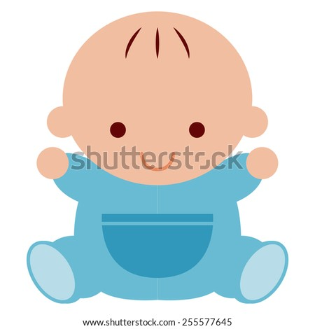 Vector Adorable Cartoon Baby Icon Isolated On White Background - stock vector