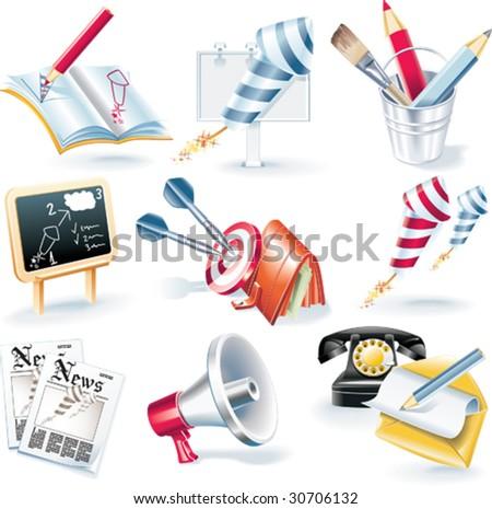 Vector advertising campaign icon set - stock vector