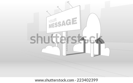 Vector advertising construction (billboard) on city background - stock vector