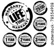 Vector advertising natural looking stamp (label, sign) for 1, 2, 3, 5, 25 and a lifetime warranty products - stock photo