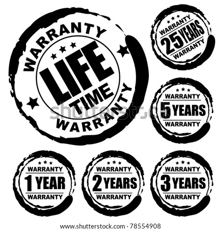 Vector advertising natural looking stamp (label, sign) for 1, 2, 3, 5, 25 and a lifetime warranty products - stock vector