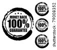 Vector advertising natural looking stamp (label, sign, seal, icon) for 100% money back guarantee service. - stock photo