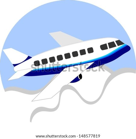 Vector aeroplane cartoon - stock vector