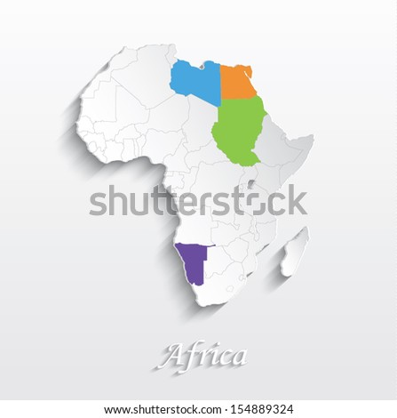 Vector Africa Map Card White Paper Stock Vector 154889324