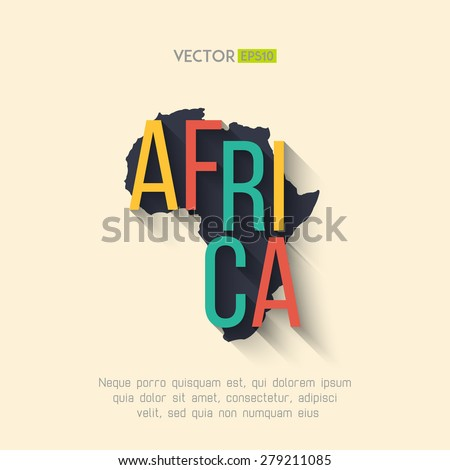 Vector africa map in flat design. African border and country name with long shadow. - stock vector