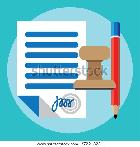 Vector agreement icon - contract, pencil and stamp - stock vector