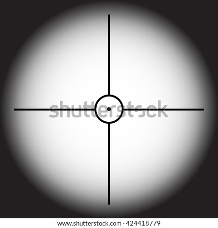 Vector aim icon of sniper rifle on black background - stock vector