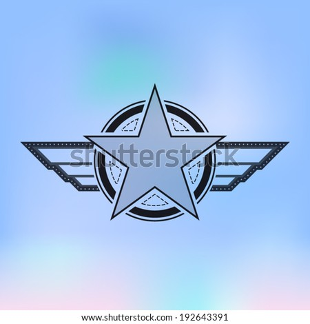 vector air force star symbol with sky, military concept - stock vector