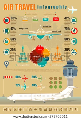 Vector air travel infographic with airport and design elements. - stock vector