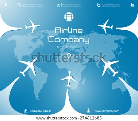 Vector aircraft brochure with planes, whirlwinds, infographics elements and world map. Can be used  for travel agencies, aviation companies. Airline banner - stock vector