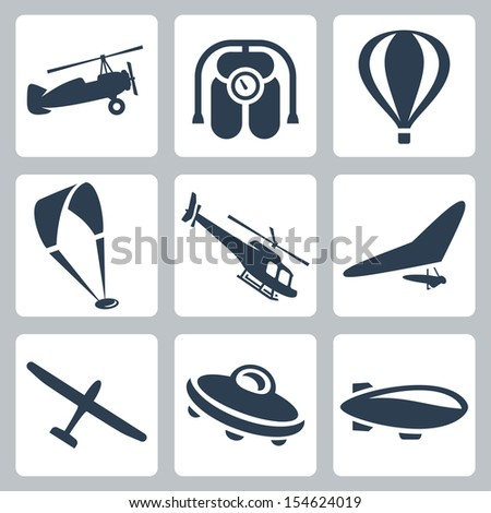 Vector aircrafts icons set: autogyro, jet pack, air balloon, paraglider, helicopter, hang-glider, glider, flying saucer, airship - stock vector