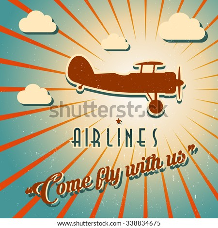 Vector airline brochure with  swirled retro airplane. Pin-up banner with place for your text. For travel agencies and aviation companies - stock vector