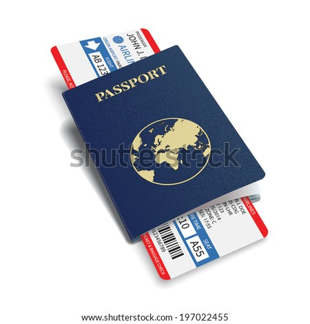Vector airline passenger  boarding pass tickets with bar code. - stock vector