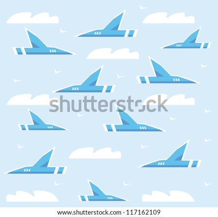 Vector airplane background - stock vector