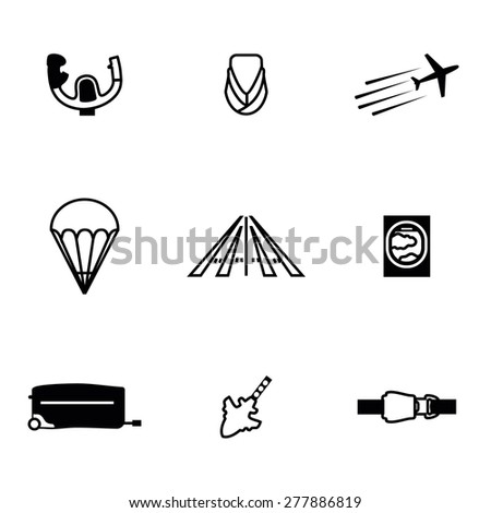 Vector Airplane icon set on white background - stock vector