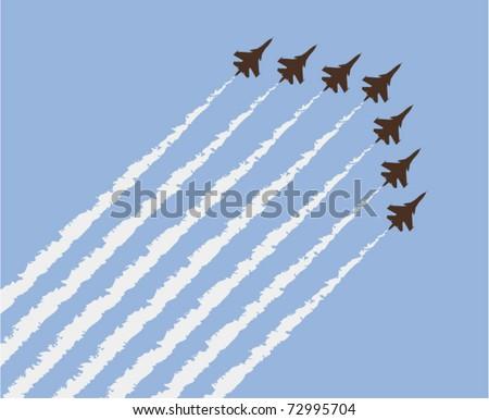 vector airplane show - stock vector