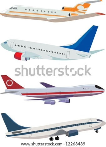 Vector airplanes: four different planes - stock vector