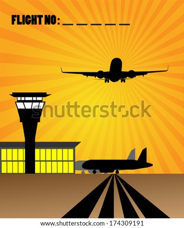 Vector airport view with air control tower and terminal building  - stock vector