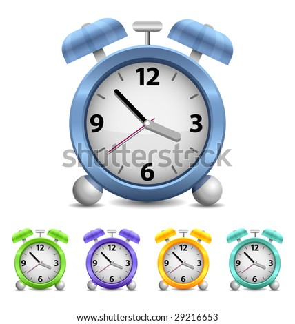 Vector Alarm Clock isolated on white background - stock vector