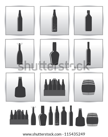 Vector alcoholic drinks icon. square gray set icons - stock vector