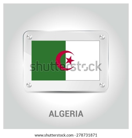 Vector Algeria Flag glass plate with metal holders - Country name label in bottom - Gray background vector illustration
