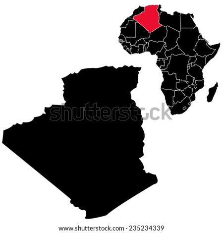Vector Algeria map on Africa  - stock vector