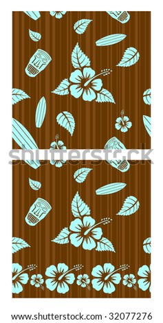 Vector aloha seamless patterns for combining ? second pattern for bottom - stock vector