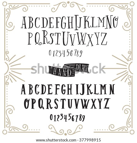 Vector alphabet and numbers set. Handwriting white letters and signs in vintage chalk style on black background. Set of two handwritten font. Vintage line frame  with sunburst . - stock vector