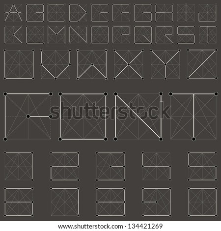 Vector Alphabet Collection. Vintage Geometric font constellation. Vector, retro background. Molecular structure alphabet. - stock vector