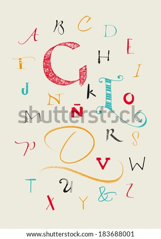 Vector alphabet. Color full hand drawn uppercase letters written with a brush, marker, nib and pencil. Eps vector file and hi-res jpg included.