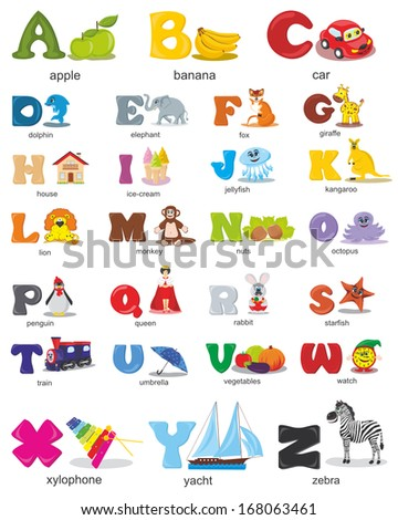 Vector alphabet design for kids - stock vector