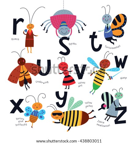 Vector alphabet for children. Cute insects in cartoon style. R, S, T, U, V, W, X, Y, Z,. Part 3.  - stock vector