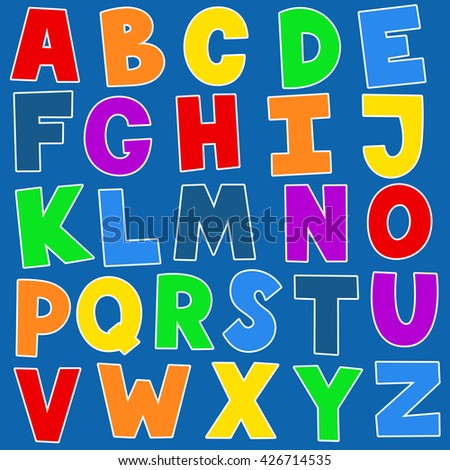Vector alphabet for children. Multicolored letters