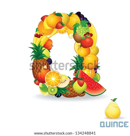 Vector Alphabet From Fruit. For Letter Q Fruit is Quince. - stock vector