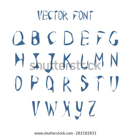 Vector Alphabet. Hand Drawn Blue Letters. Watercolor ABC Painted Font. Vector illustration of Sketched Characters Alphabet on a isolated background. Letters of the alphabet written with a brush