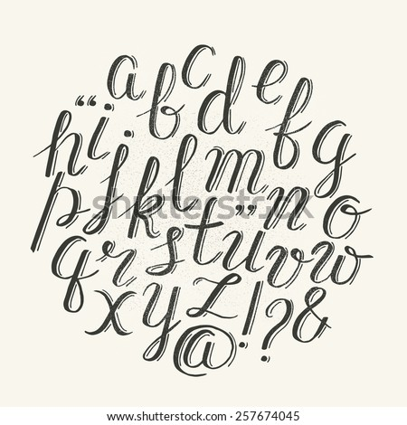 Vector alphabet. Hand drawn letters - stock vector