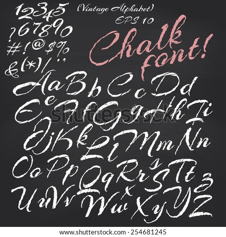 Vector alphabet. Hand drawn letters. Chalk font on blackboard background - stock vector