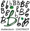 Vector alphabet. Hand drawn letters. Letters of the alphabet written with a brush. Spots and blotches. - stock photo