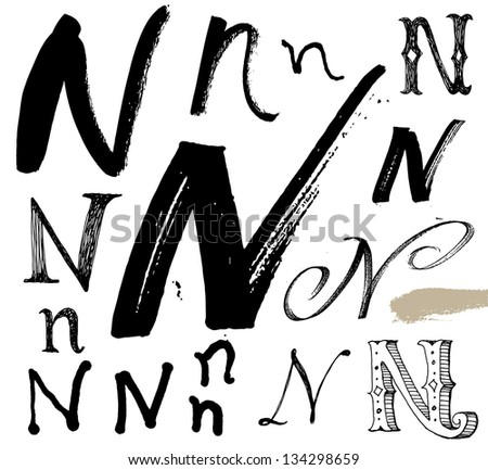 Vector alphabet. Hand drawn letters. Letters of the alphabet written with a brush. Spots and blotches. - stock vector