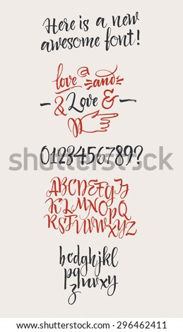 Vector alphabet. Hand drawn letters, numbers and  decorative elements. Letters of the alphabet written with a brush - stock vector