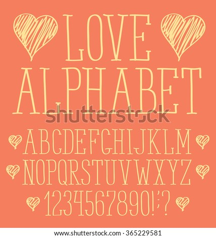 Vector alphabet. Hand drawn letters with heart for valentines day - stock vector