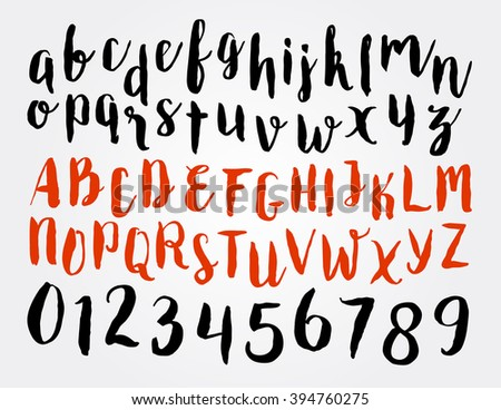 Alphabet Letters Lowercase Uppercase Numbers Vector Stock